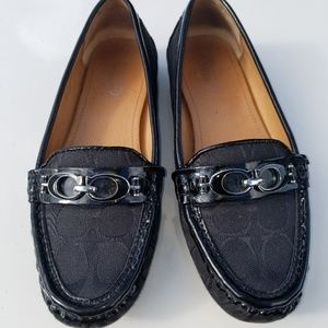 Black signature Coach loafers